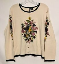 Charlotte Tarantola Off White Long Sleeve Floral Sequined Wool Cardigan XL