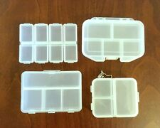 Mini Plastic Storage Containers Lot of 4 Small Bead Container Pillbox Pillboxes