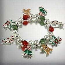Candy Cane Charms Stretch Bracelet New Christmas Bells Gingerbread Man Presents