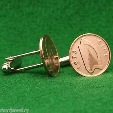 Irish Celtic Harp Coin Cufflinks, Half Penny (Small) Bronze Ireland