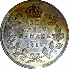10 Cent Canada 1915 Graded by ICCS EF-45 Scratch
