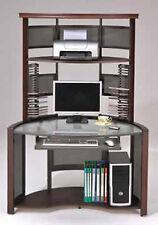67.5''H Multi-Function GlassTop Computer Work Station - Dark Cherry Finish -ASDI