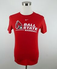 Ball State Baseball Mens Athletic Cut Ss Crew Neck Red T Shirt by Nike Small