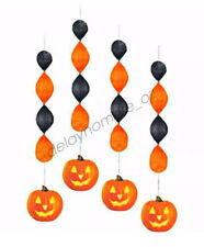 Halloween Spooky Party Sipplies 4 Foil Pumpkin Hanging Decoration Swirl Swirling