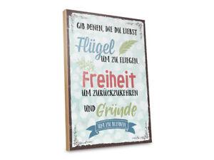 Holzschild mit Spruch – FLÜGEL, FREIHEIT, GRÜNDE
