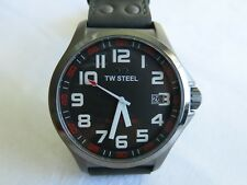 Mens TW Steel 45mm Pilot Black  with red accents watch