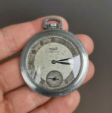 Vintage Art Deco Tissot Steel Pocket Watch 1930's Swiss