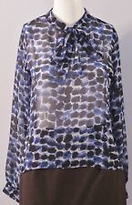 R. MARKS Size M Petites Blue Semi-Sheer Long Sleeves  Blouse (Made in U.S.A.)