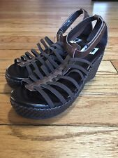 a-Line Girl's Strappy and Basket-Woven Style Wedge Platform Sandals sz 3B Brown