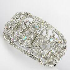Flower Floral Bridal Wedding Party Crystal Stretch Bangle Bracelet Clear Silver