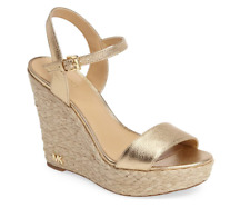 Michael Kors Jill Leather Wedge Pale Gold Women's sizes 5-11/NEW