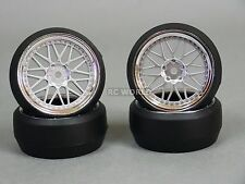 RC 1/10 DRIFT WHEELS Package 0 Degree 3MM Offset 3 PIECE SILVER W/ CHROME Lip