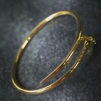 "Nail Style 7.5""Bangle with Bracelet with 18k Yellow Gold Over 7.5"" Diameter"