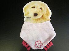 Doggie Pink and White Seersucker Bandana Collar by Mud Pie, Small, NWT