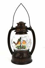 Christmas Lantern Water Filled Glitter Snow Globe LED Decoration Robins Birds