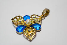 Gold Tone Blue Stone, Clear Stone and Pearl Pendant