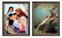 Jesus Praying At Garden And Christ with Children Two Set Framed 8x10 Wall Decor