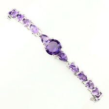 Sublime Round 8mm Top Intense Purple Amethyst 925 Sterling Silver Bracelet 8 Ins