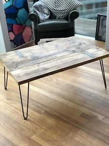 Coffee Table, Industrial Reclaimed Timber with Hairpin Legs