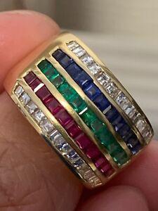 18k diamond, ruby, emerald and sapphire ring
