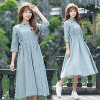 Japanese Vintage Mori Girl Preppy Style A-line Dress Cascal Sweet Girls #WE