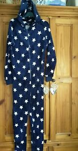 Ladies Fleece Size Small One-piece, all in one suit  Newlook Blue Stars