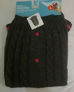 New Vibrantlife Dog Knit Warm Sweater Gray & Pink Dog Sweater Size L