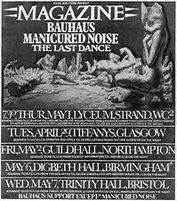 Magazine & Bauhaus 1980 London UK Melody Maker Concert Ad Reprint Howard Devoto