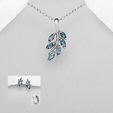 Silver and blue topaz leaf design necklace and earring set