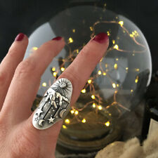 Mysterious Star Moon Women Rings 925 Silver White Sapphire Rings Jewelry Sz 5-10