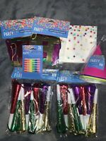 7pcs Birthday Party Supply Lot Banner Napkins Party Hats Candles Party Horns New