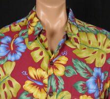 Vtg Reyn Spooner Hawaiian Traditions Rayon Colorful Hibiscus Monstera sz L USA