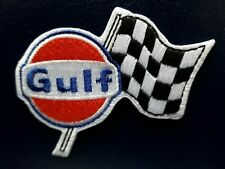 GULF FUEL OIL STATION MOTORSPORT RACING FLAG RALLY EMBROIDERED PATCH UK SELLER