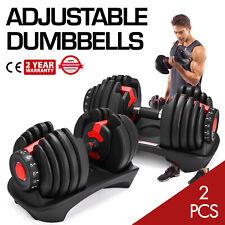 Fitness Strength 52.5LBS Adjustable Dumbbells Set (2Pc) Dumbbell 24kg Gym