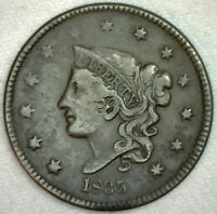 1835 Coronet Head One Cent Copper Large Cent Coin 1c US Coin Very Fine