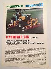 GREENS Hinomoto Hinomower Compact Tractor Gang Mower 398 1980s Sales Brochure