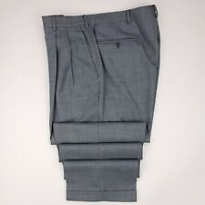 Canali Gray Pants 36x32 Windowpane Checked Blue Double Pleated Super 120s Wool