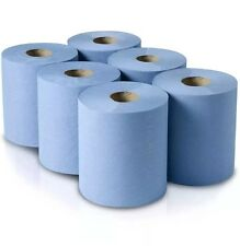 PACK OF 6 ROLLS 2PLY BLUE EMBOSSED CENTREFEED PAPER WIPE ROLL HAND TOWEL TISSUE