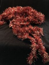 Vintage Red And Gold Tinsel Garland 3 Inches Wide 42 Feet long