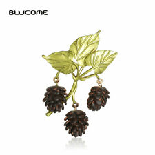 Charms Enamel Acorn Brooches Gold Plated Brooch Pin For Women Party Gift