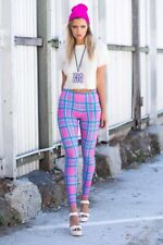 Near New Black Milk Tartan Barbie Toasties Leggings- Pink - Size XS