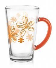 6 Latte Macchiato Gläser 300ml Orange Blumen Teegläser Kaffeegläser Milchkaffee