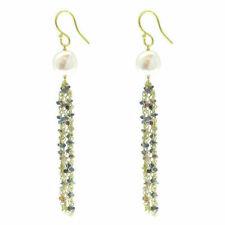 Fresh Water Pearl and Multi Sapphire Hook Earrings, Yellow Gold O/L S/Silver 9ct