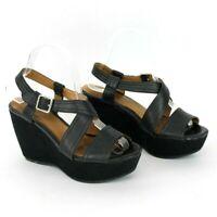 Clarks Artisan Women's Black Leather Caslynn Kat Wedge Heel Sandal Size 7 M