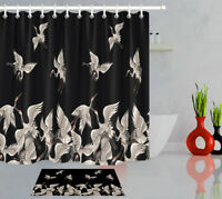 Bathroom Waterproof Fabric & 12 Hooks Black Background Cranes Shower Curtain Set