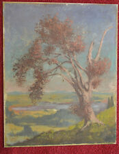 Ölbild auf Aluminiumplatte, Landschaft mit Baum, 1948, monogrammiert unbek.Maler
