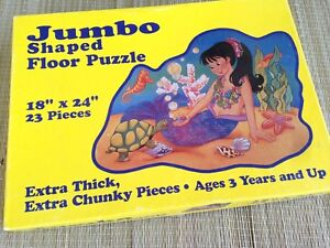 """Rare Vintage Old Jumbo Floor Puzzle 18"""" x 24"""" 23 pcs Made in USA US Seller"""