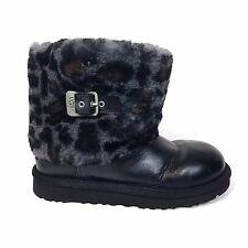 UGG Australia Maylin Leather Fur Boots Animal Print Size 3