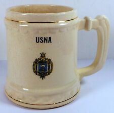 Vintage USNA Logo United States Naval Academy Cream Color Mug & Gold Color Trim
