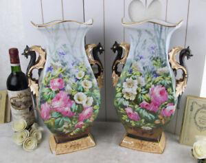 Antique PAIR XL Vieux paris porcelain Dragon gothic Floral Vases rare 1900